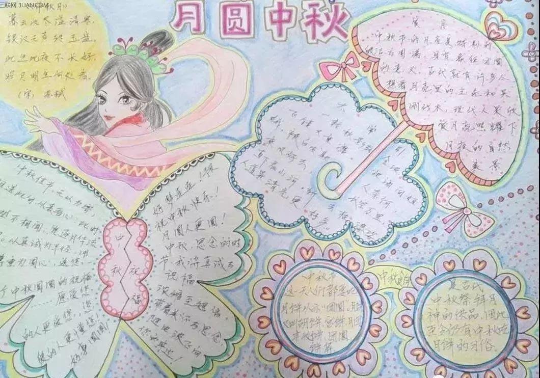 中秋节手抄报图片素材 模板 文字