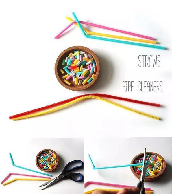 剪刀,铅笔,细铁丝 制作步骤图解: 制作步骤:按照上图步骤做出纱布花朵