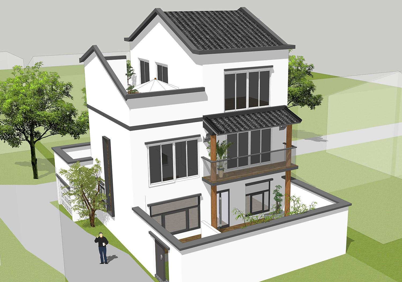 农村三间二层楼房设计图,感受中式古典的美