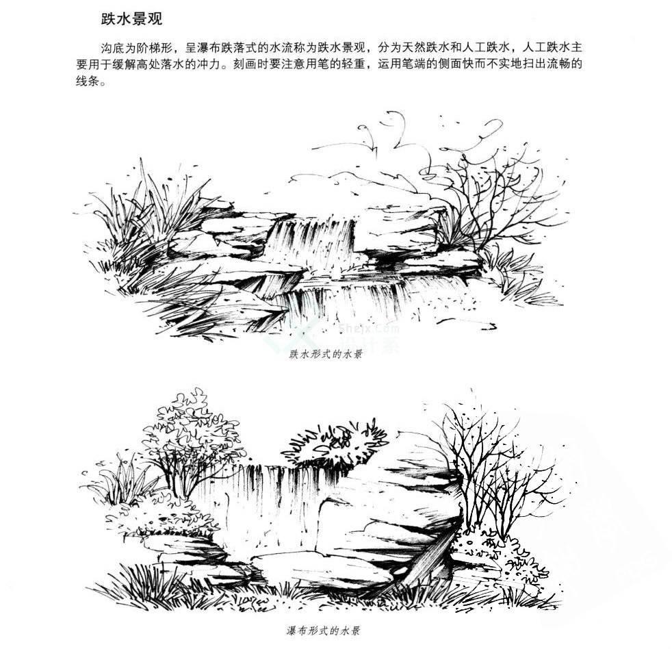 手绘水体图片_国画石头及其水景线稿的画法_表现