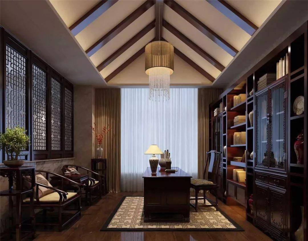 中式风格书房中式书柜装修效果图.
