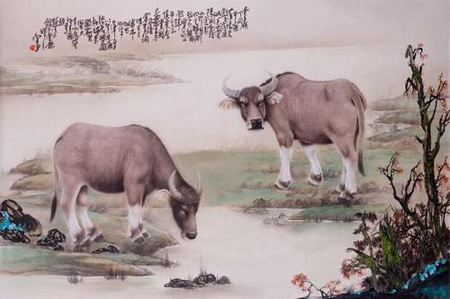 细腻深情的工笔画刻画两只牛的野趣