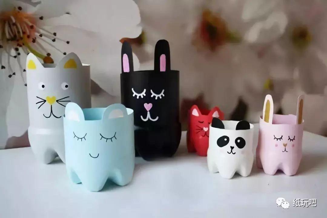游戏 正文  饮料瓶 可爱的 兔兔和熊猫笔筒 商店里都不一定能买得到呢图片