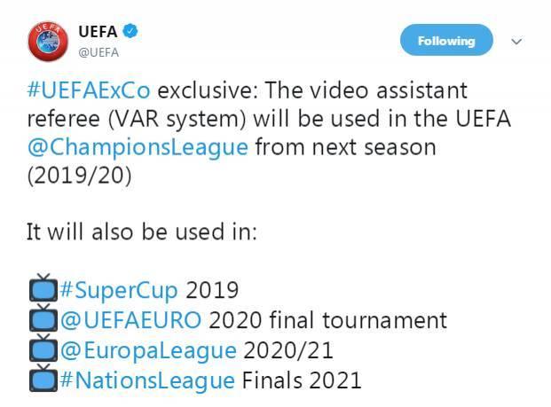 欧冠下赛季正式引进VAR技术 C罗式红牌有望减少