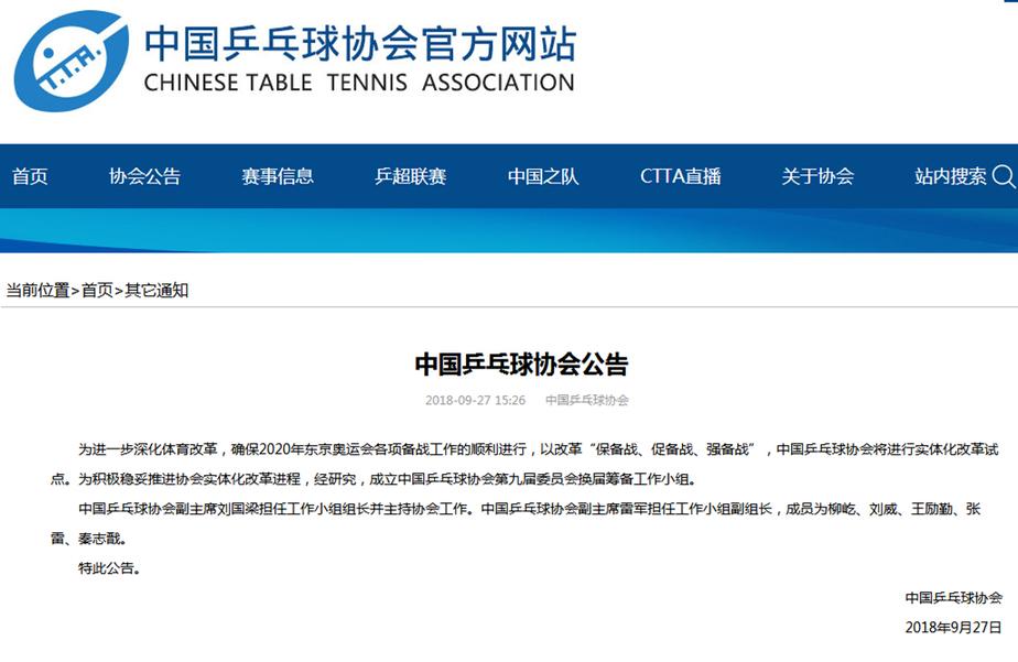 纳萨夫 中国乒协成立换届筹备小组 刘国梁任组长