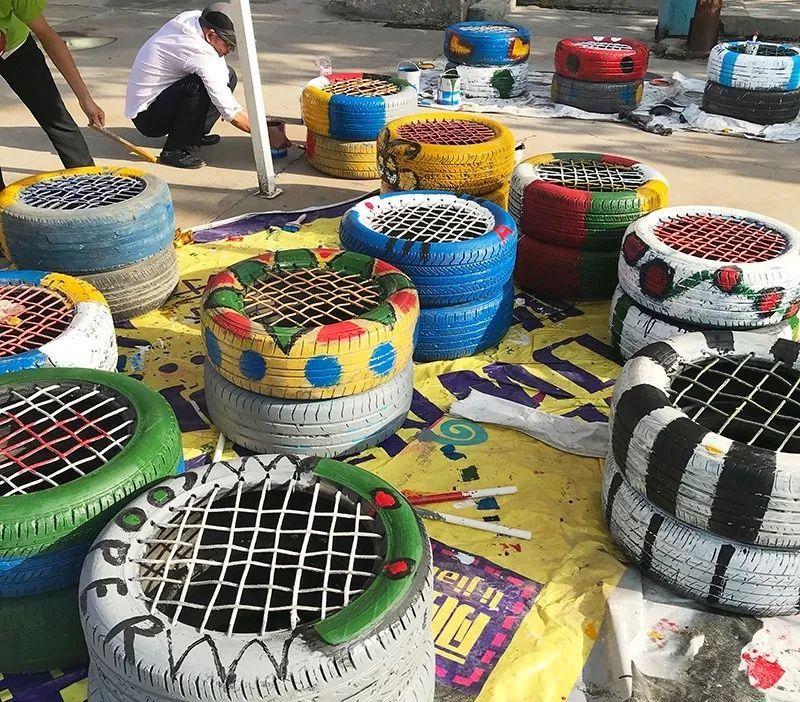 轮胎涂鸦_创意| 轮胎涂鸦——环保又经济的景观小品!