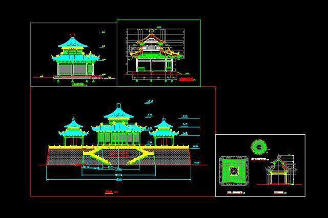 1.4g中国古建筑151套cad图纸设计图 施工效果图 明清古建筑剖切图