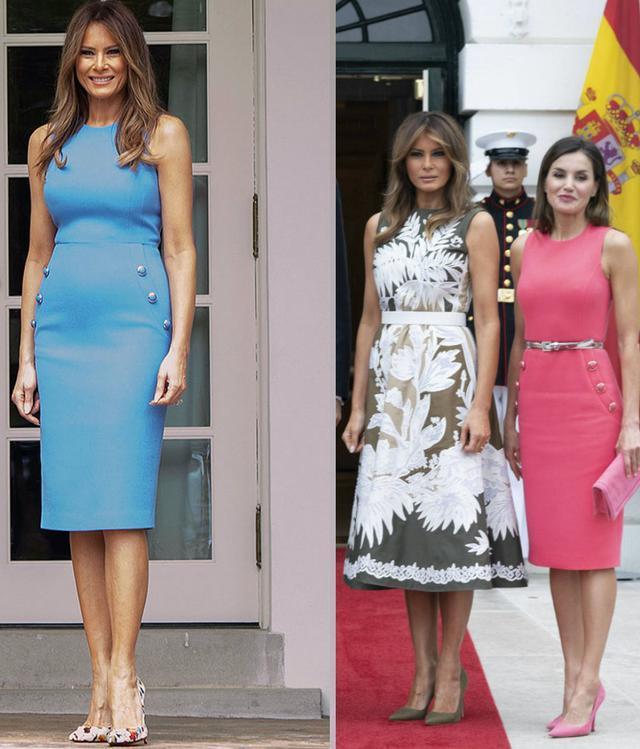 西班牙王后有多會穿?梅拉尼婭為模仿她,都不顧小肚腩多明顯了!