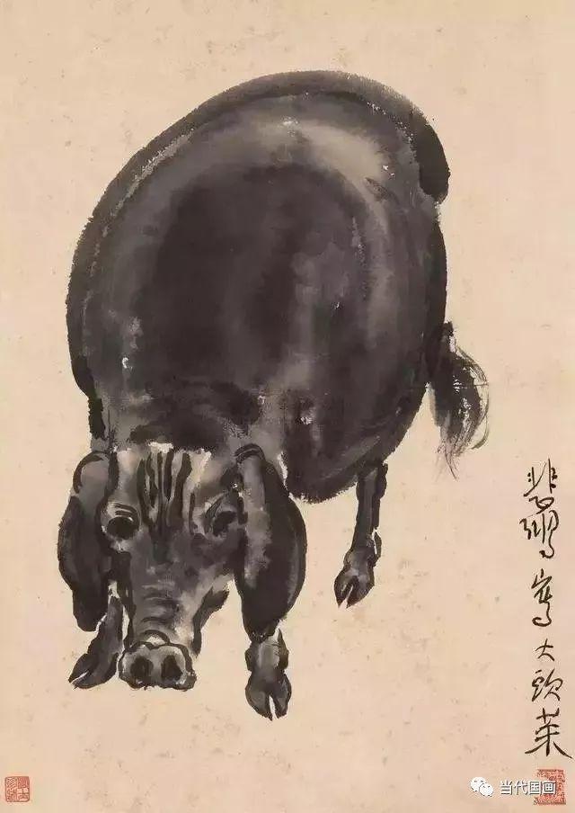看徐悲鸿画 猪 ,大笔淡墨,描绘丰收与财富