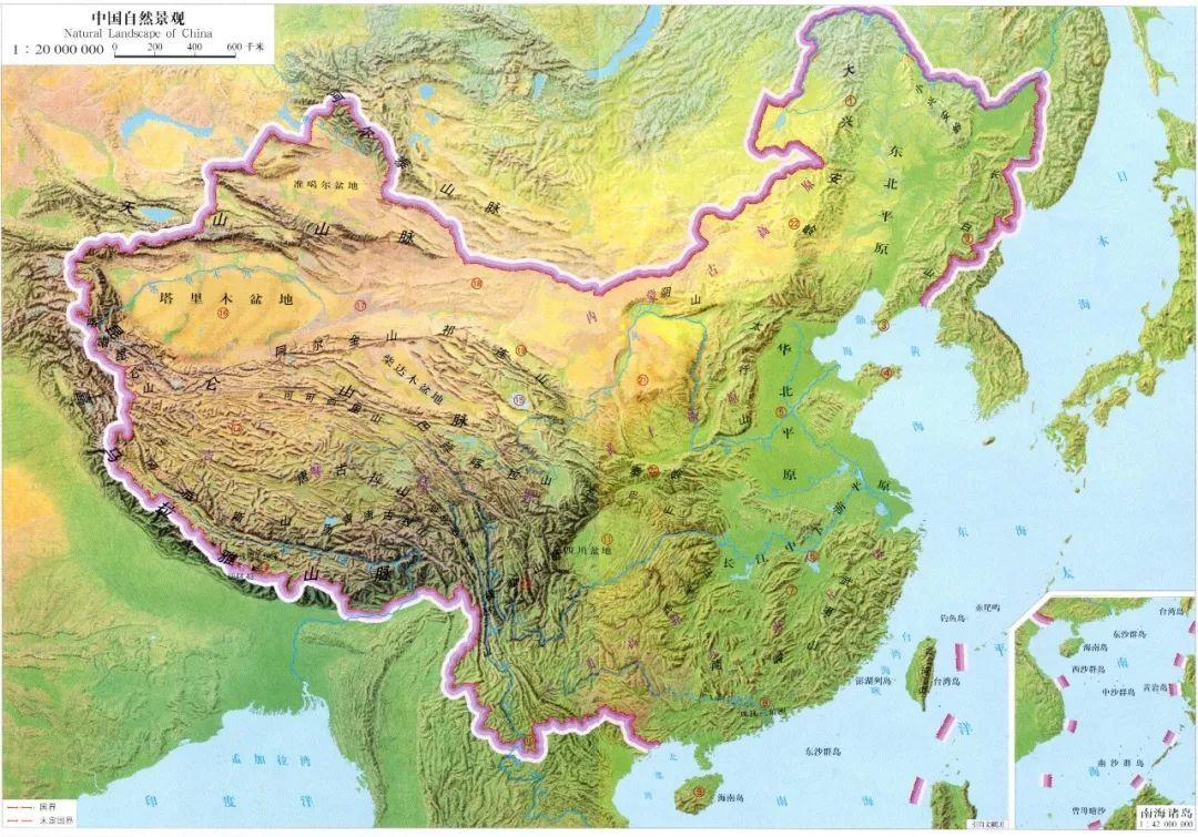 中国山脉河流盆地地图_地图分享