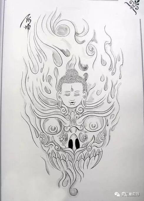 我是雕刻师,佛像纹身雕刻素描手稿图谱素材上海翰联建筑设计有限公司图片