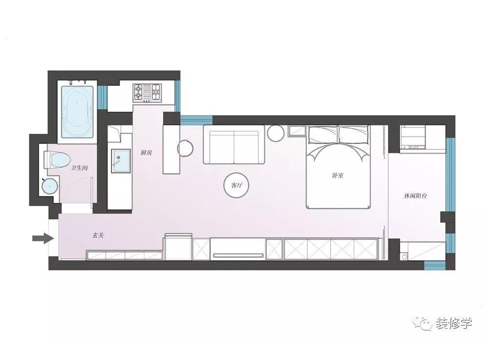 [45平一室一厅] 二手房梦幻改造,六角砖拼地板,小白砖