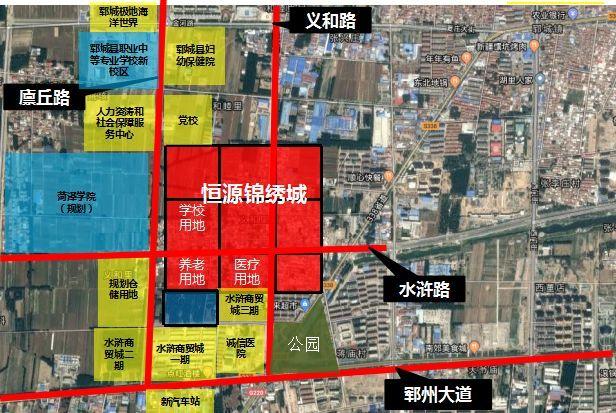 (蓝色区域为郓城县职业中等专业学校及菏泽学院的位置)图片