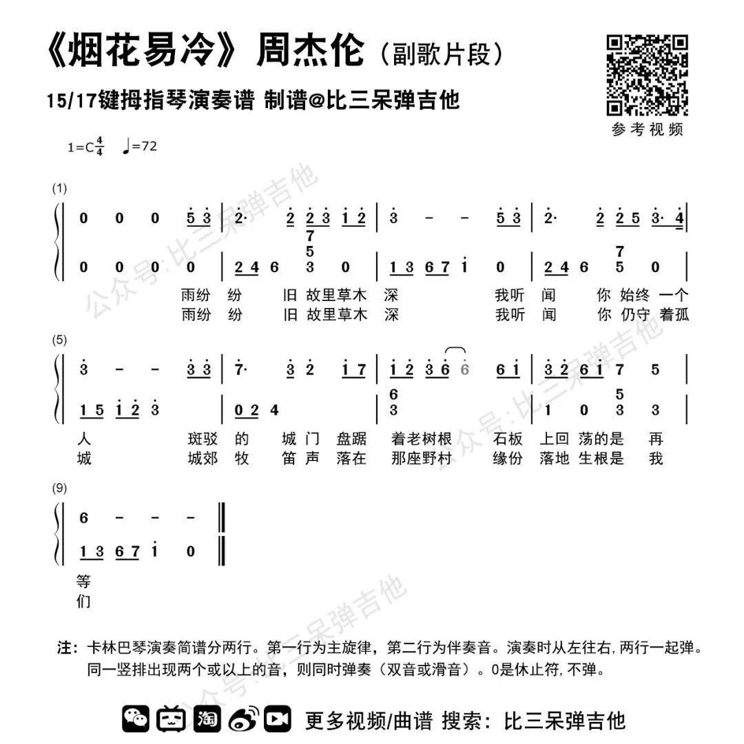 烟花易冷(副歌)|拇指琴简谱&专用谱图片