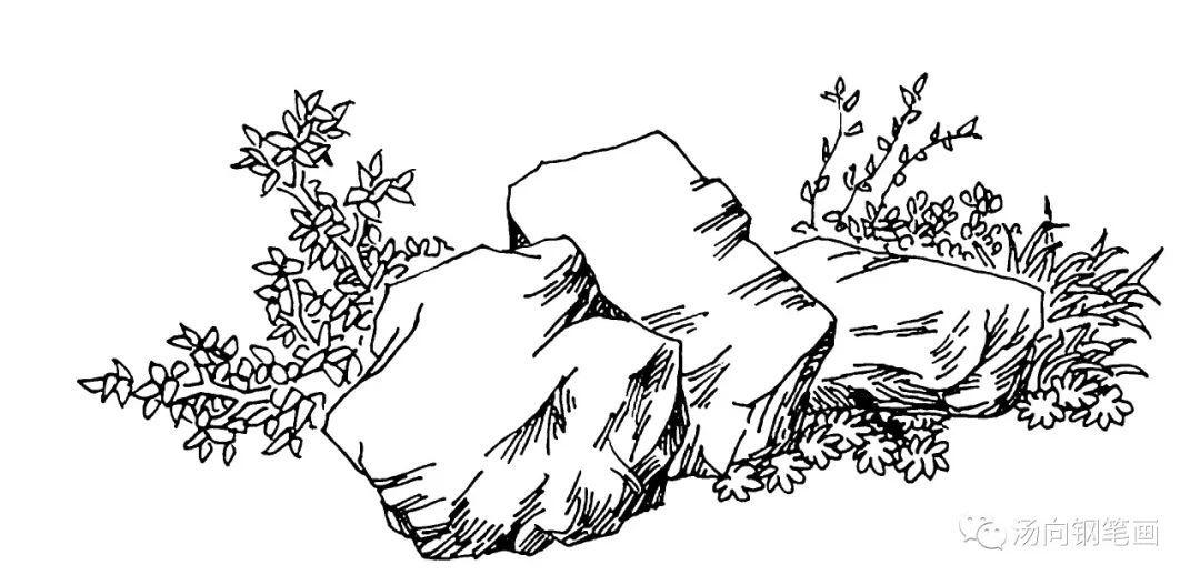 学钢笔画233 三块石头……好兄弟一样!图片