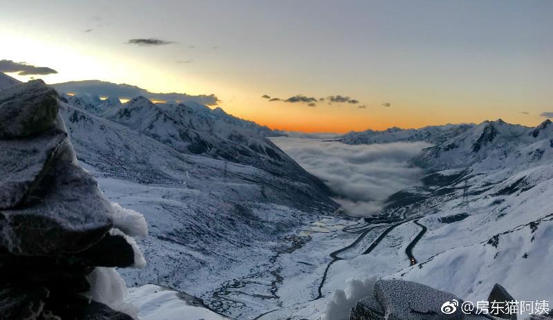 国庆大雪后,折多山日出,云海,佛光美极了! 川藏线旅游攻略 第4张
