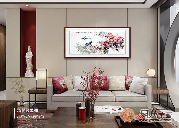 老年人家中客厅装饰画,富贵吉祥挂画心情好