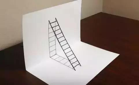 3d立体画入门篇 我们从最简单的画立体的梯子,来了解折出来的立体3d图片