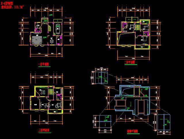 高清cad图纸下载:山区小别墅设计cad施工效果图,获取直接使用