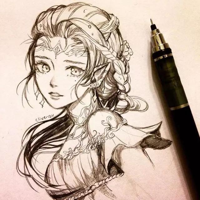 用自动铅笔画美女,比照片还漂亮