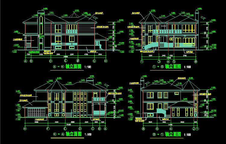 电气cad高清获取:图纸小图纸施工cad设计效果图,使用直接下载看山区别墅怎图片