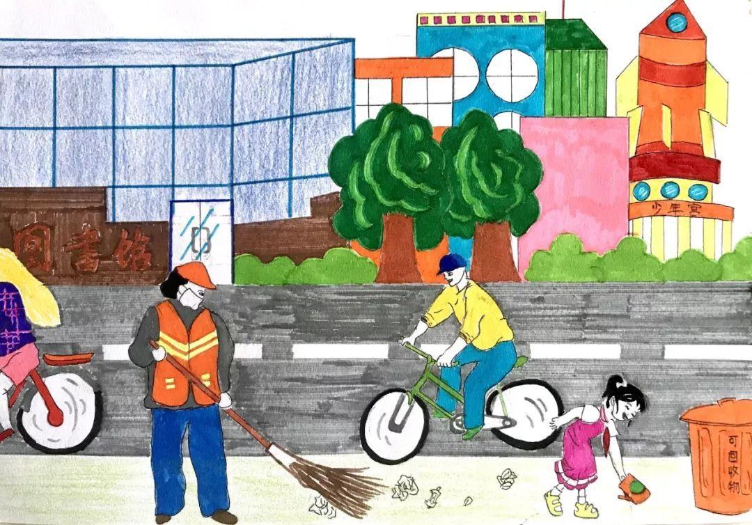 """【小手拉大手,共创卫生城】创建卫生校园,我们在路上""""图片"""