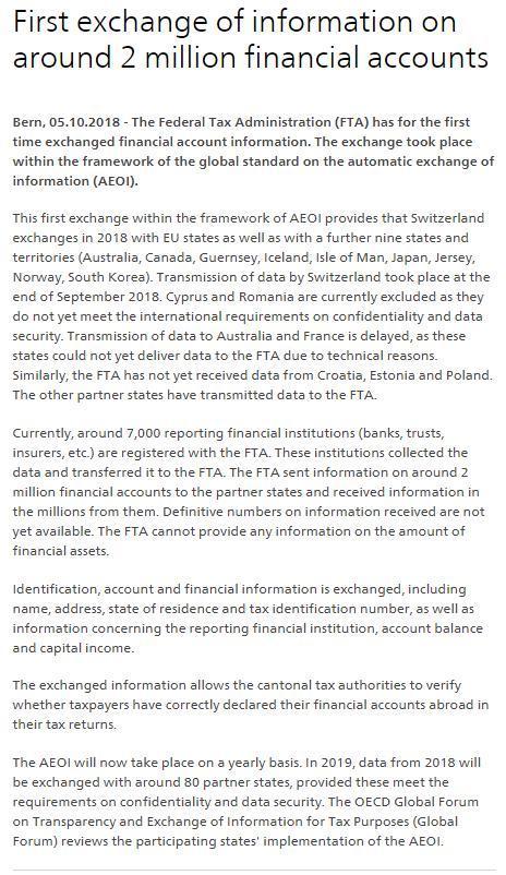 避税天堂终结!瑞士:首次交换约200万金融账户信息