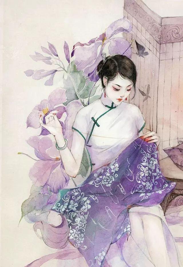 唯美的民国旗袍手绘图,超有气质的女子插画,保存当壁纸用