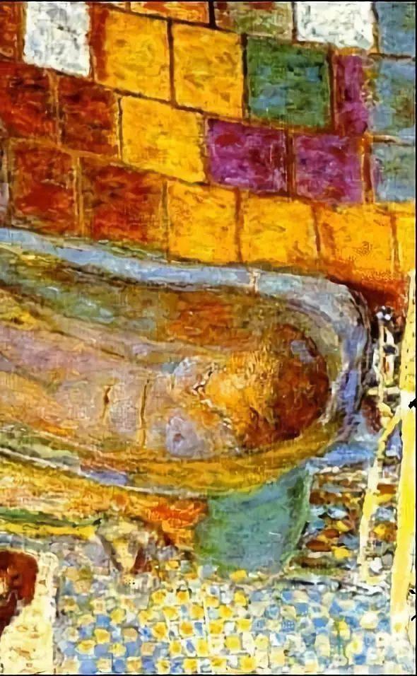 蓝光黄光在幻动,女裸,浴缸,流水,窗户,马赛克地板,瓷片墙壁形成五光图片