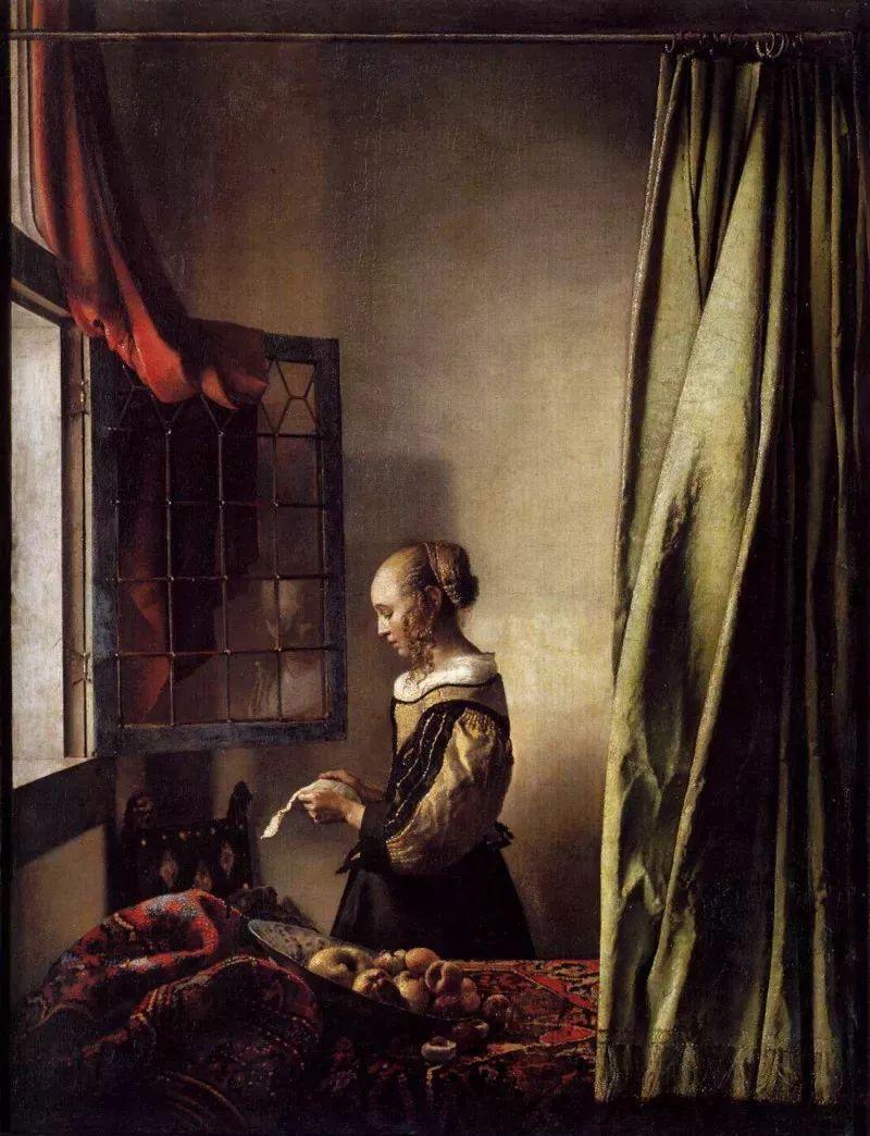 扬·弗美尔油画 窗边读信的少女