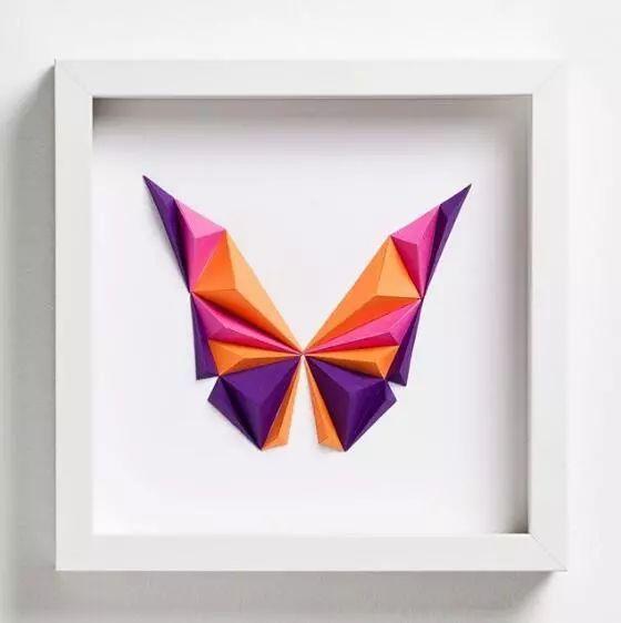 折纸加拼图,几何图形组成的纸艺动物图片