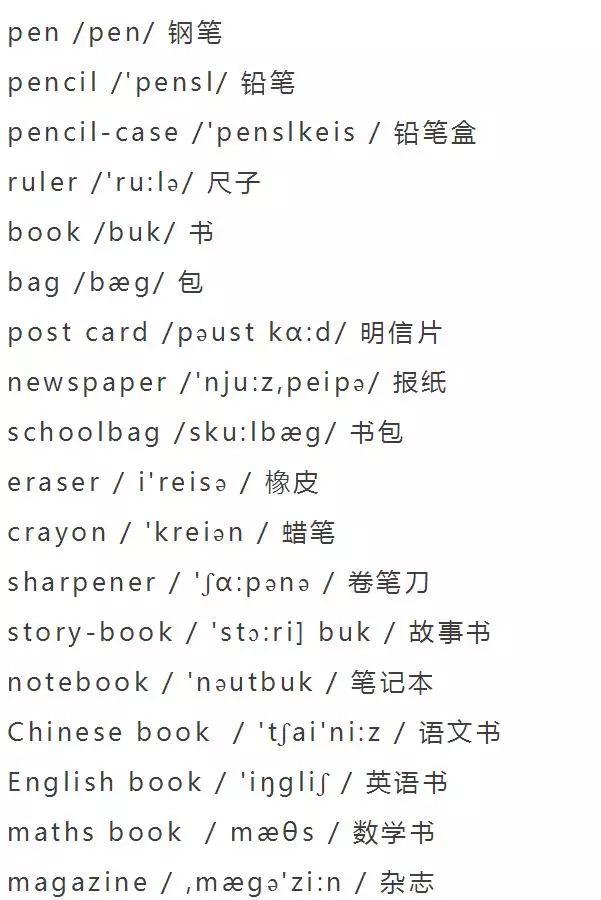小学英语单词分类大全,为孩子收藏!
