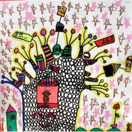 少儿创意美术《挂满礼物的大树》,创意无限!图片
