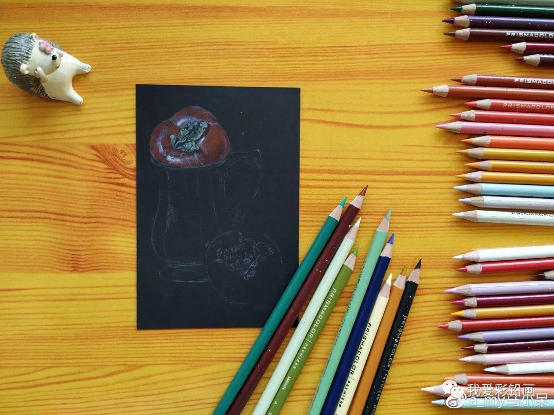 【成人教程】黑卡上的秋柿彩铅手绘视频系列详细水果视频图片