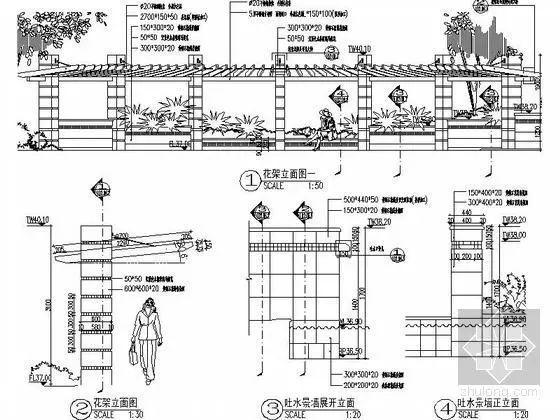 cad施工图:天正的使用大样台阶平面图水景图(常用廊架命令水池-s7200cad图片