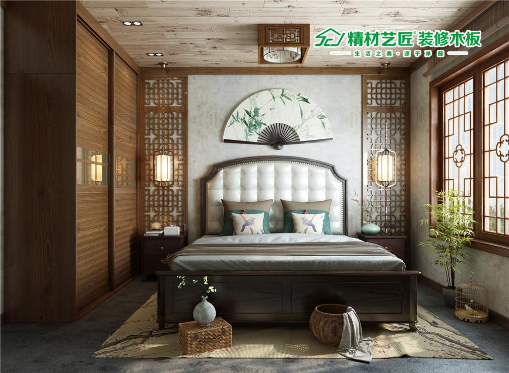 精材艺匠装修卧室:木板就这样装修,a卧室还移门原木大气衣柜图片