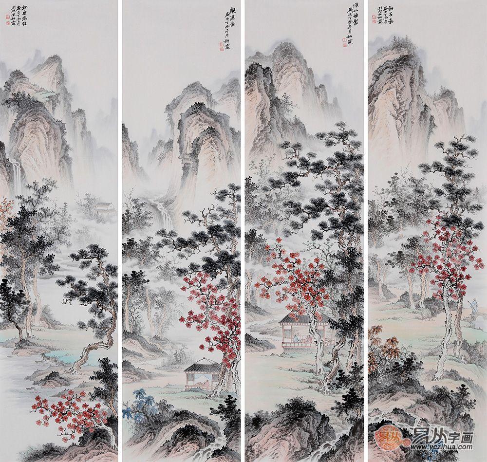 仿古国画 李佩锦最新国画山水四条屏《林泉高致》