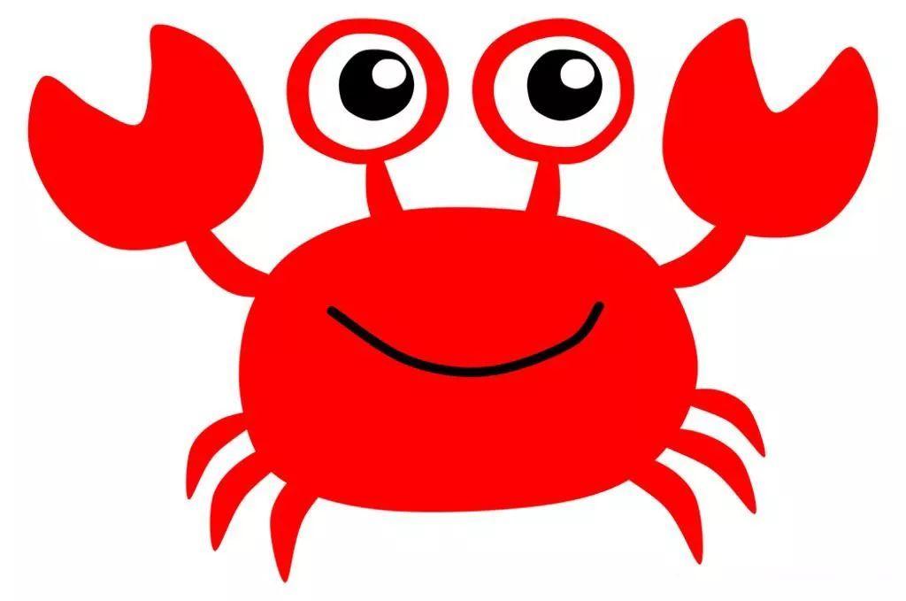 卡通简笔画,红色小螃蟹简笔画
