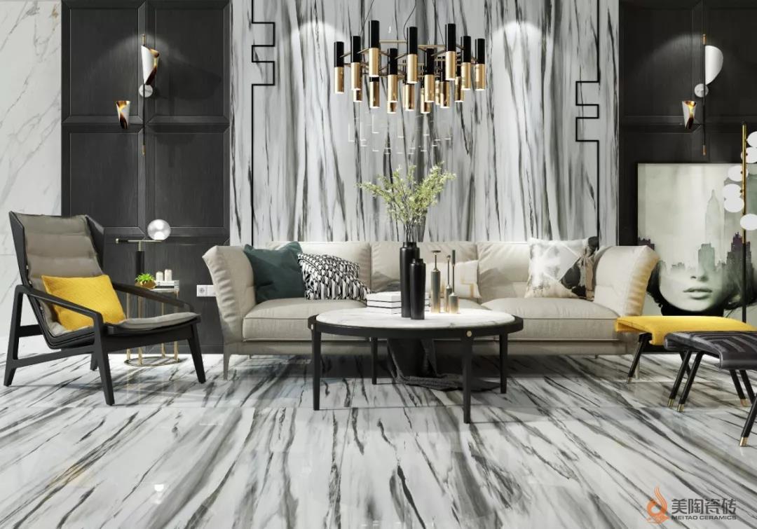 2018流行客厅装修风格,大板瓷砖打造经典效果