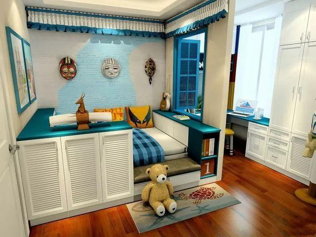 上下床儿童房设计,用隔断窗分割了学习和睡眠区域,小孩喜欢,大人满意