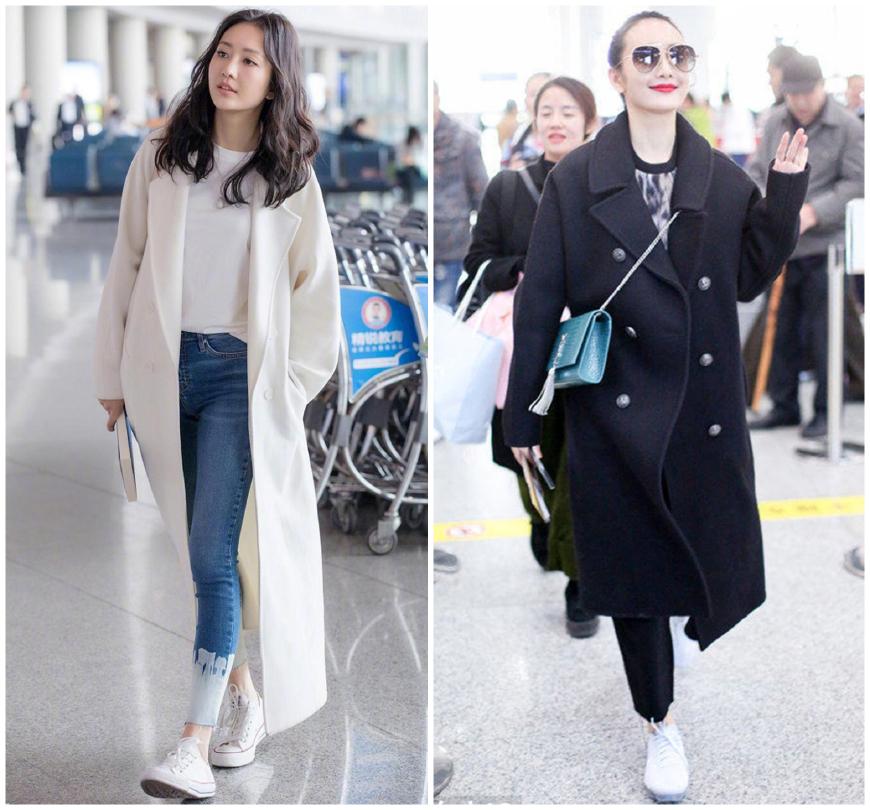 大衣小白秋冬时髦新穿法,刘雯何穗超模示范,周冬雨小个照样美