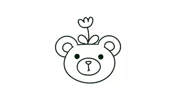 简笔画第22期 你见过这么萌的小熊盆栽吗