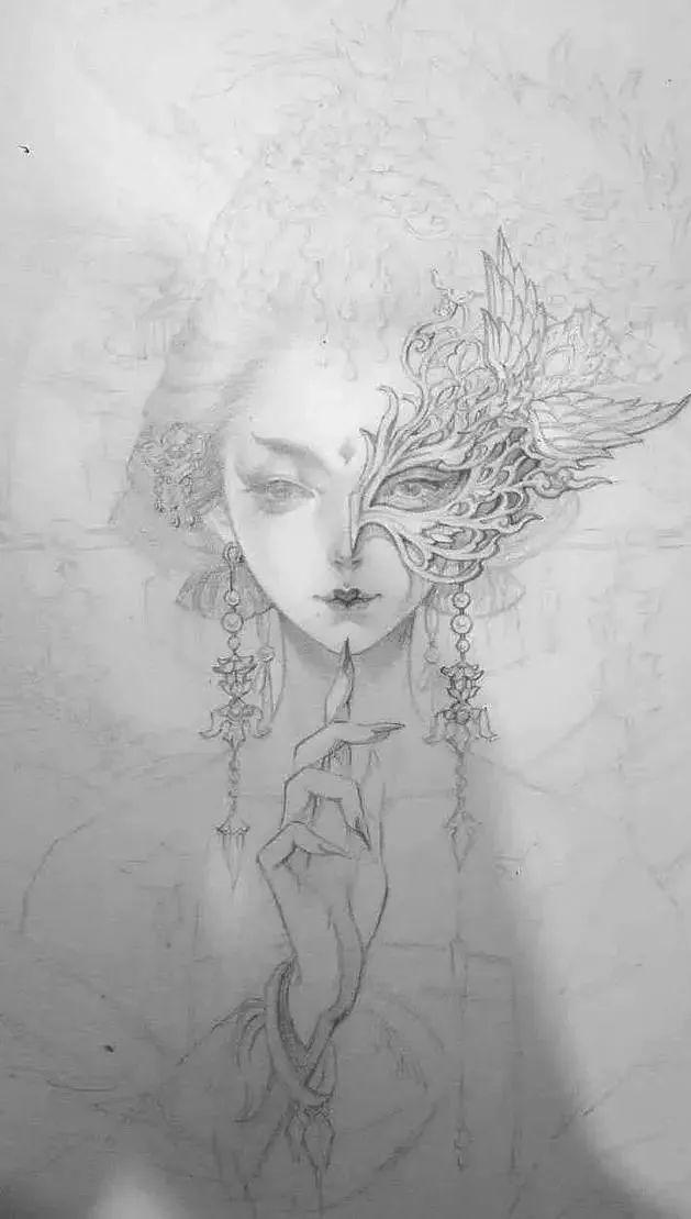 她的画晕厥一种笔下,素材的技法音乐美到带有!《20古风世纪的美人与仙气》图片