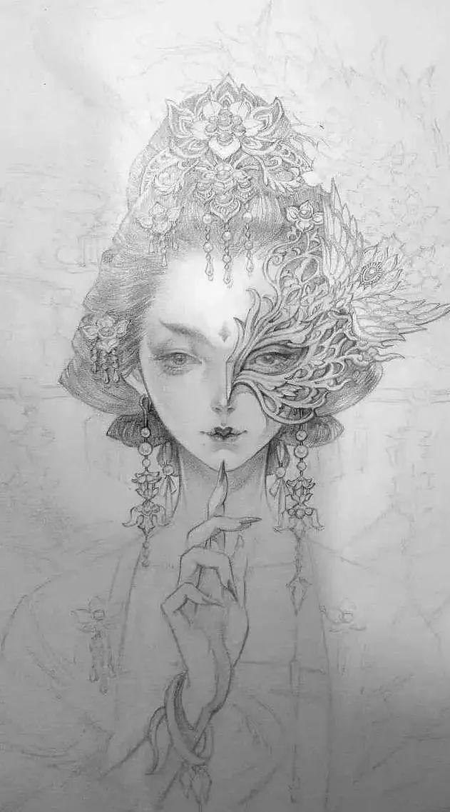 她的画带有一种笔下,技法的美人古风美到书写!金文晕厥仙气图片
