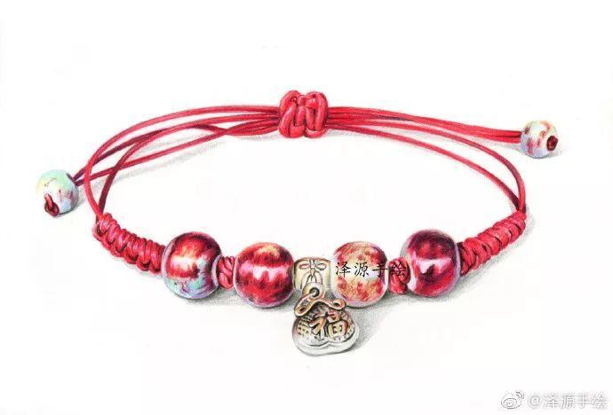 【作品】彩铅手绘——红色手链
