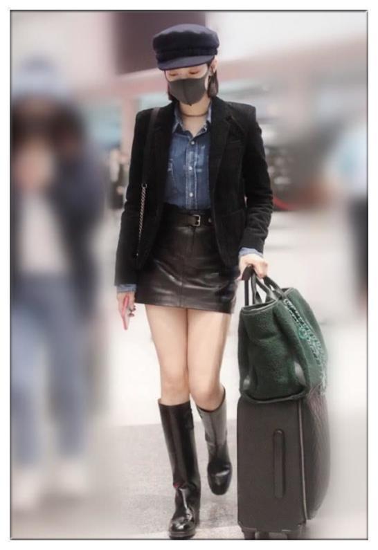 没有宋茜的腿真别穿中筒皮靴,像吴谨言这样撑不起来就尴尬了!