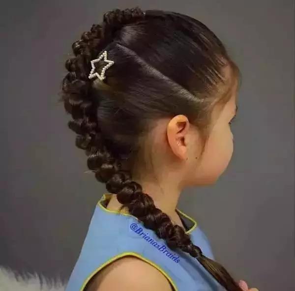 小孩长发编发发型 11岁女孩编发发型教学图片