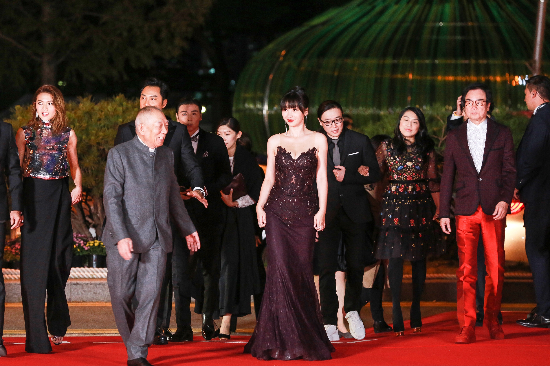 柳岩低胸鱼尾裙惊艳釜山电影节闭幕红毯 身段婀娜为《张天志》造势