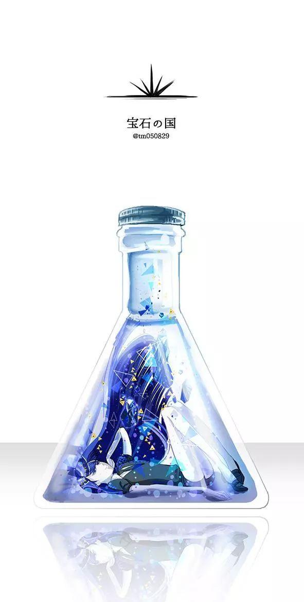 唯美图片,动漫人物被锁在瓶子中 瓶中花特辑