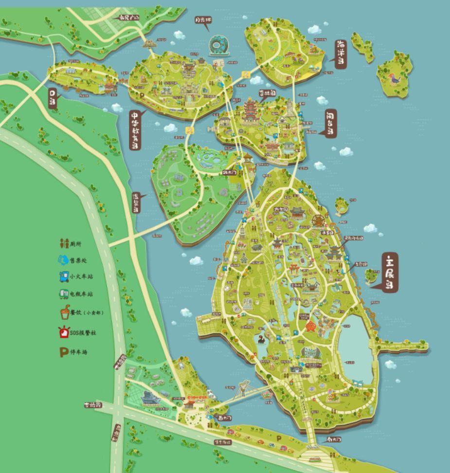 园博苑手绘地图